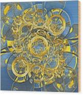 Crescents And Barrels In Blue Wood Print