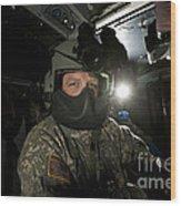 Crew Chief In A Uh-60 Black Hawk Wood Print