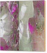 Crimson And Silver Wood Print