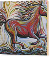 Crimson Lightning Wood Print