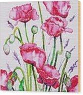 Crimson Poppies Wood Print