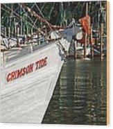 Crimson Tide Bow Wood Print by Michael Thomas
