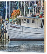 Crimson Tide In Harbor Wood Print by Michael Thomas