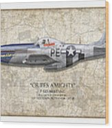 Cripes A Mighty P-51 Mustang - Map Background Wood Print