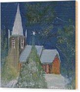 Crisp Holiday Night Wood Print by Louise Burkhardt