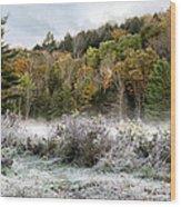Crisp Morning Frost Hillside Landscape Wood Print