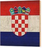 Croatia Flag Vintage Distressed Finish Wood Print