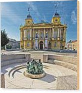Croatian Nationa Theater In Zagreb Wood Print