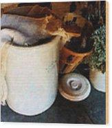 Crock And Basket Wood Print by Susan Savad