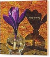 Crocus Floral Birthday Card Wood Print