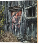 Crooked Barn - Rustic Barns Series  Wood Print by Thomas Schoeller