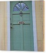 Crooked Green Door Wood Print