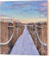 Crooked Lake Boardwalk Wood Print