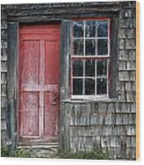 Crooked Red Door Wood Print
