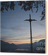 Cross On The Mountain Wood Print