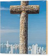 Cross And City Wood Print
