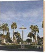 Cross And Palm Trees Mission Santa Clara Wood Print