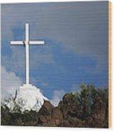 Cross At San Xavier - Tucson Wood Print