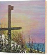 Cross At Sunset Beach Wood Print