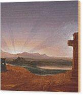 Cross At Sunset Wood Print