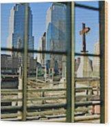 Cross At World Trade Towers Memorial Wood Print