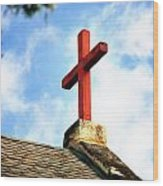 Cross Church Roof Wood Print