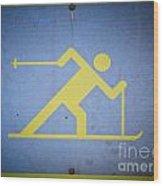 Cross Country Skiing Signboard Wood Print