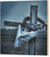 Cross In A Field Wood Print