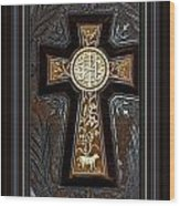 Cross In Leather Wood Print