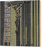 Cross Of Rouen Cathedral Wood Print