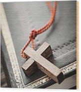Cross On Bible Wood Print