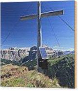cross on Crepa Neigra peak Wood Print