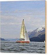 Cross Sound Sailboat Wood Print
