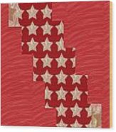 Cross Through Sparkle Stars On Red Silken Base Wood Print by Navin Joshi