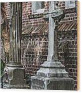 Cross Tombstone Wood Print
