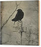 Crow On A Crooked Old Cross Wood Print