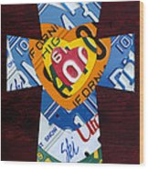 Cross With Heart Rustic License Plate Art On Dark Red Wood Wood Print