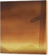 Cross With The Sunset  Background Wood Print by Somkiet Chanumporn