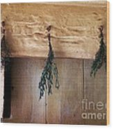 Crossbeam With Herbs Drying Wood Print