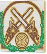 Crossed Chainsaw Timber Wood Leaf Wood Print by Aloysius Patrimonio