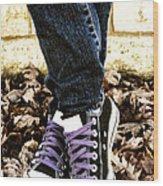 Crossed Feet Of Teen Girl Wood Print