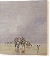 Crossing Lancaster Sands Wood Print