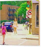 Crossing Notre Dame At Charlevoix To Dilallo Burger Montreal Summer City Scene Carole Spandau Wood Print