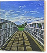 Crossing Over Bridge Wood Print