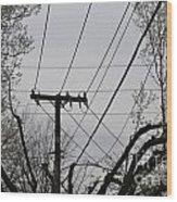 Crossing Power Lines Wood Print