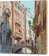 Crossing The Canal Wood Print by Jeff Kolker