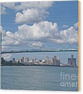 Crossing The Detroit River Wood Print