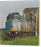 Via Train Crossing The Miramichi River Wood Print by Steve Boyko