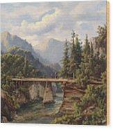 Crossing The River Bridge Wood Print