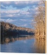 Crossing The River On Low Water Bridge Wood Print